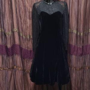 Vintage 80's Black Velvet Goth Sheer Evening Dress